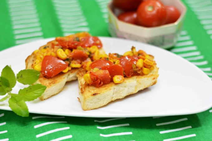 Tomato & Corn Bruschetta/ Tastiest Bruschetta Recipe