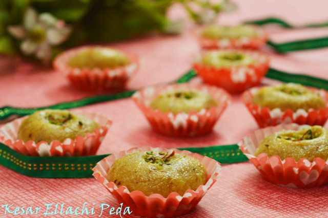 Kesar Ellachi Peda Using Khoya/Mawa
