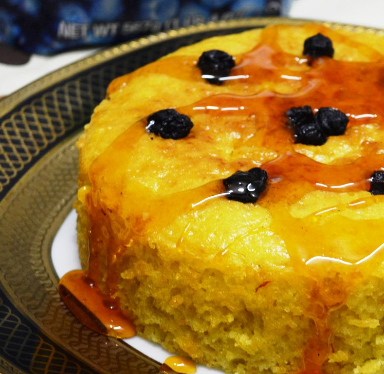 Saffron Lemon Blueberry Cake with Lemon Caramel Sauce