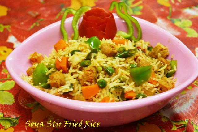 Soya Stir Fried Veggie Rice/ Quick & easy soya rice recipe