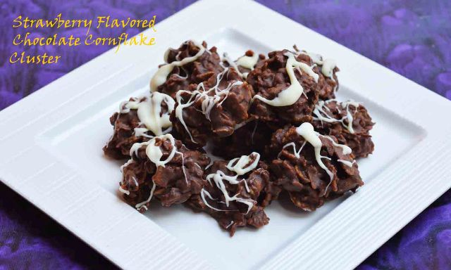 Strawberry flavored chocolate-cornflake-cluster