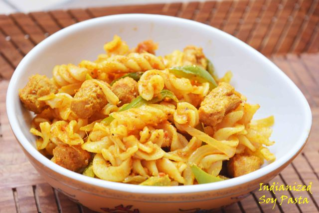 Indianized Soy Pasta / Soy pasta with desi tadka
