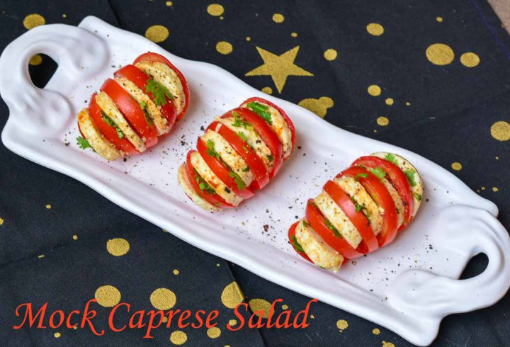 Mock Caprese Salad/ Indian Tomato & Cheese Salad