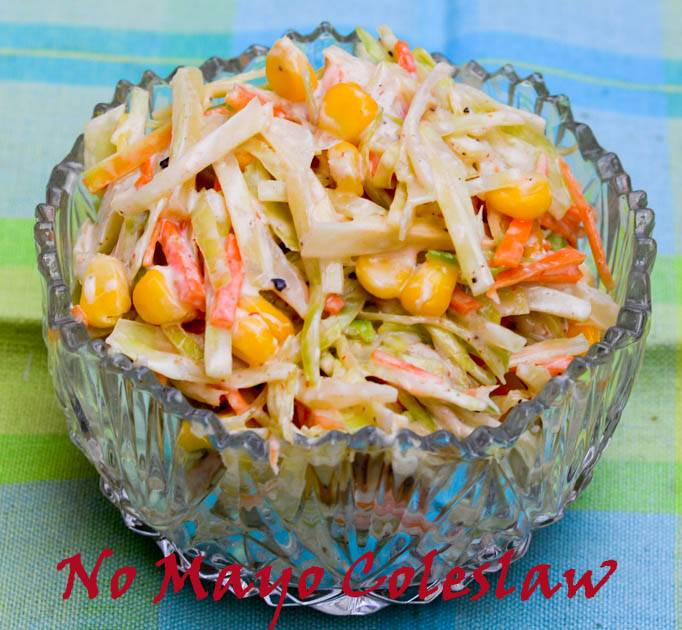No Mayonnaise Coleslaw/ Spicy & Creamy Coleslaw Recipe