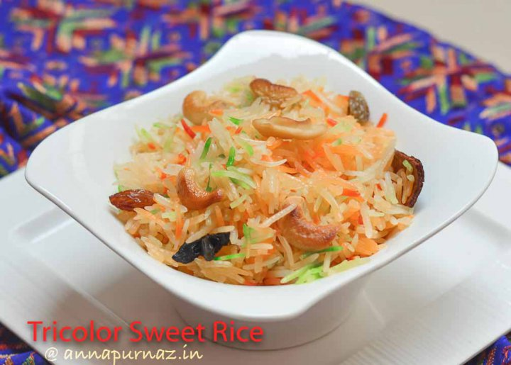 Tricolor Sweet Rice/ Tiranga Rice/ How to make sweet rice
