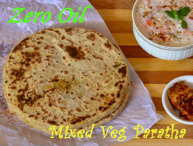 Zero Oil Mixed Veg Paratha/ Healthy Mixed Veg Paratha