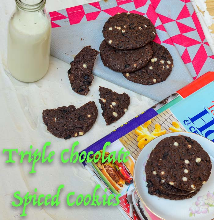 Triple Chocolate Spiced Cookies/ Eggless Triple Chocolate Spicy Cookies