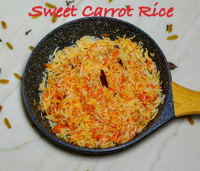 Sweet Carrot Rice/Meethe Gajar Rice